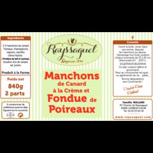 Manchons de canard à la crème et fondue de poireaux (840 grs)